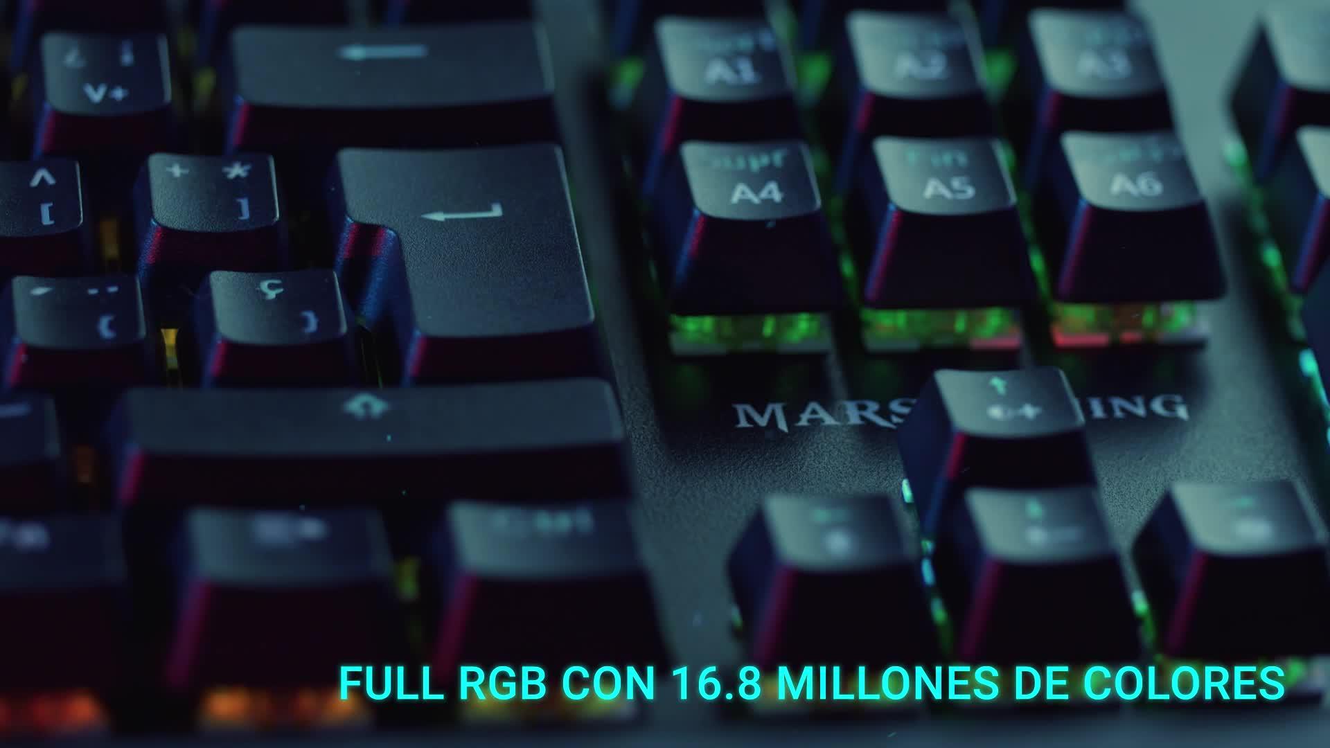 MARSGAMING MK5BES, Teclado Mecánico RGB + Resposamuñecas, Switch Azul, Español