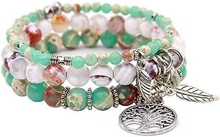 Tree of Life Turquoise Jasper & Tibetan Agate Gemstone Chakra Beaded Bracelet | Beach Charm Bracelet Set - Ocean Jewelry