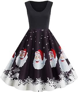 YOCheerful Vintage Dress Womens Merry Christmas Printed Evening Party Dress O-Neck Sleeveless A-Line Dress