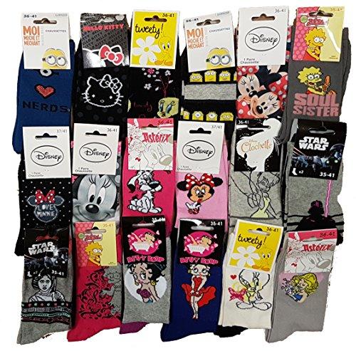 Calzini Motivo: Personaggi Disney Confezione di calzini fantasia, con licenza, assortimento di modelli come da foto. Pack de 10 Paires Modèle Femme 36/41