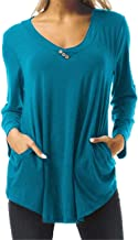 Reokoou Women Solid Pleated Shirt Elegant Long Sleeve V-Neck Button Flowy Daily Wear Fit Loose Pullover Tops Blouse Blue