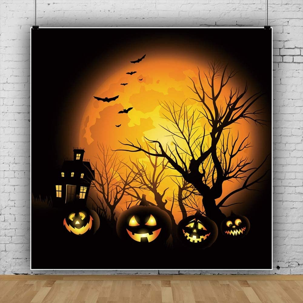 Halloween Party Background 5x5ft Vinyl Photography Backgroud Flag Banner Cartoon Grimace Pumpkin Lantern Wooden Floor Dark Backdrop Horror Night Children Trick Or Treat
