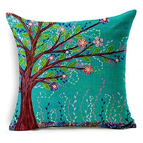 Hangood Cotton Linen Throw Pillow Case Cushion Covers Tree of Life 18 x 18 inches