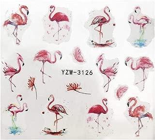 Full Set Pink Flamingo Nail Wrap Decals Sticker Salon Quality Nail Art - 1 Sheet