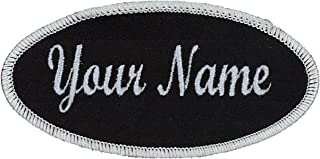 "OVAL Name patch Uniform or work shirt personalized Identification tape Embroidered: 2"" High x 4"" Wide"