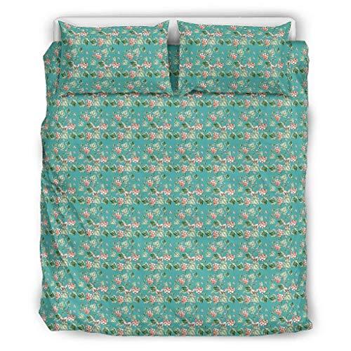 Bannanabut Juego de colcha de 3 piezas con estampado de plantas, suave, cómodo, ligero, juego de funda de cama con fundas de almohada para todas las estaciones, color blanco 104 x 90 pulgadas