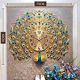 YIJIAN Relojes de Pared de Pavo Real Relojes de Decoración de Pared de Cristal Creativo para Decoraciones de Pared de Metal de Sala de Estar Silencio/Colorful 70x68cm