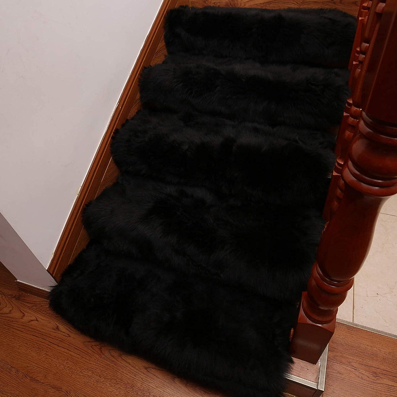 HAOJON Alfombrillas para escaleras, Juego de 10 Antideslizantes, Autoadhesivas, Ultra Felpa, Suaves, aptas para Mascotas, Antideslizantes, sin Cinta, Lavables, Reutilizables (Color: Negro, Tamaño: