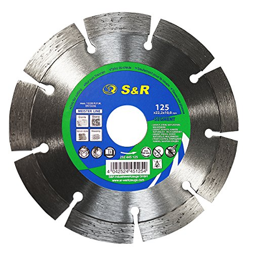 S&R Disco de corte de diamante 125 para Granito, Piedra Natural. Disco de Alto Rendimiento