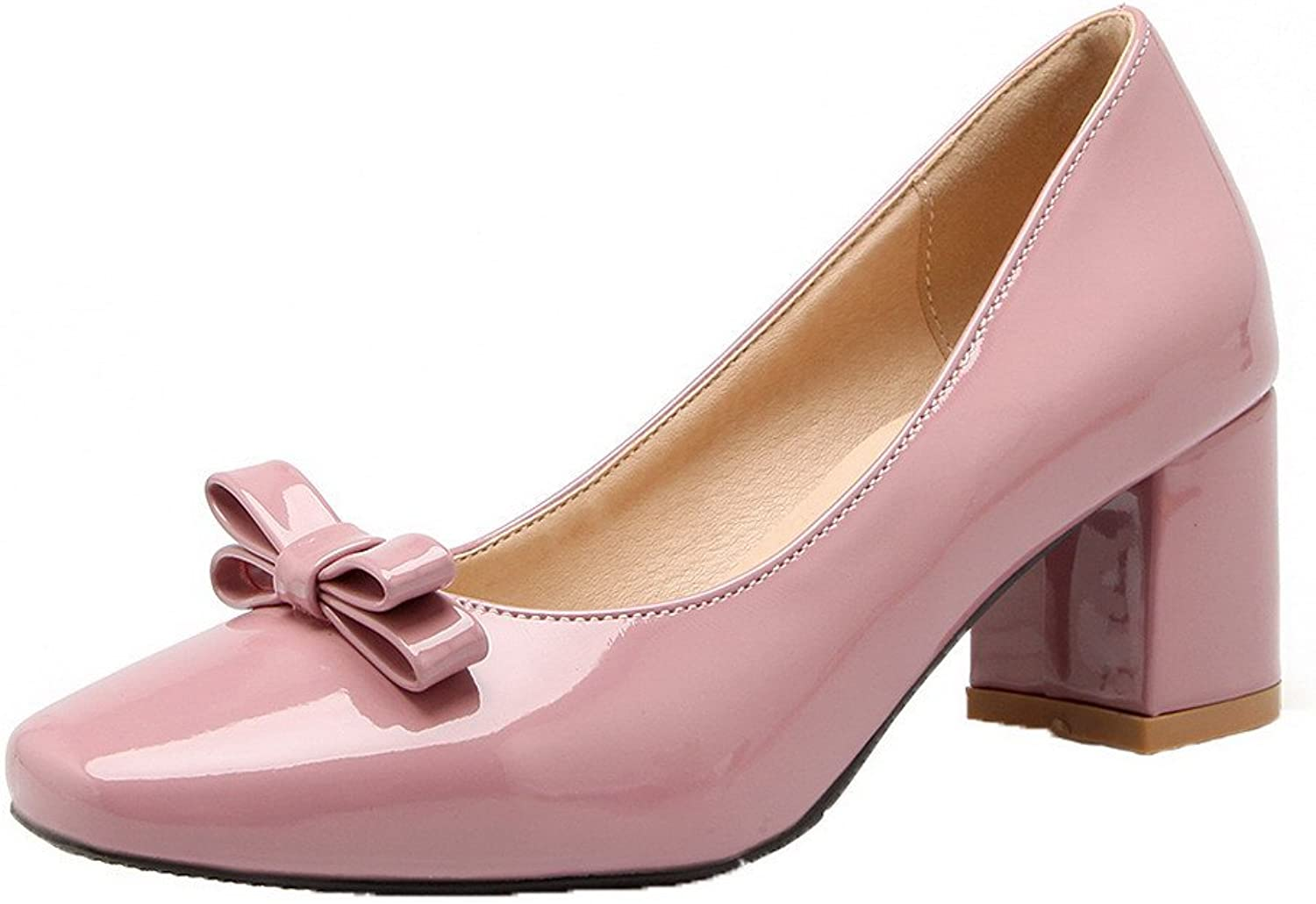 WeiPoot Women's Patent Leather Square Toe Kitten-Heels Pull-On Solid Pumps-shoes