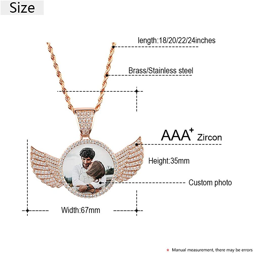 YIMERAIRE Hip Hop Jewelry Custom Picture Necklace Memory Pendant with Chain Leaves Shape Personalized Photo Medallions Necklace