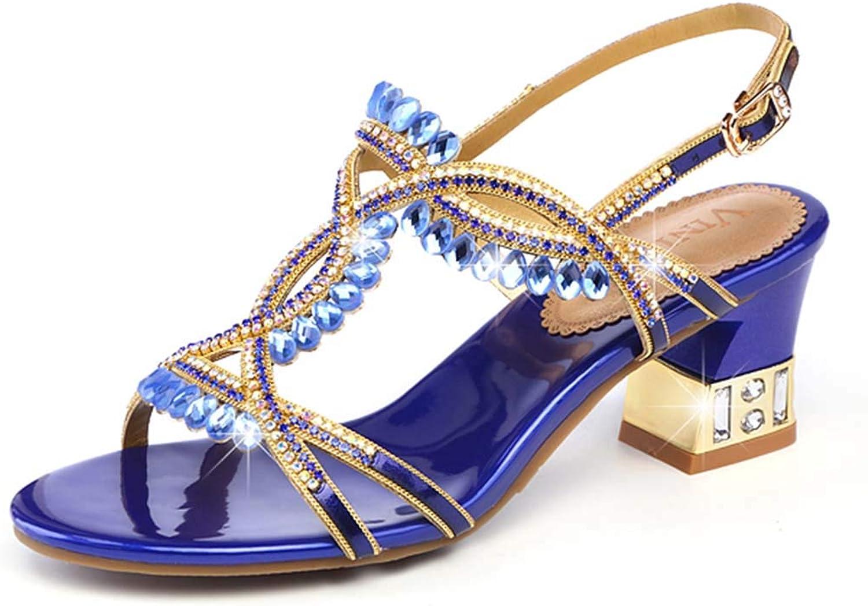 Women's Sandals Rhinestones high Heels Thick with Roman Sandals Open Toe Fashion Sandals Summer