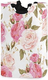 AUUXVA SEULIFE Laundry Hamper, Floral Flower Rose Pink Laundry Basket Washing Clothes Hamper Collapsible Storage Bin Folda...