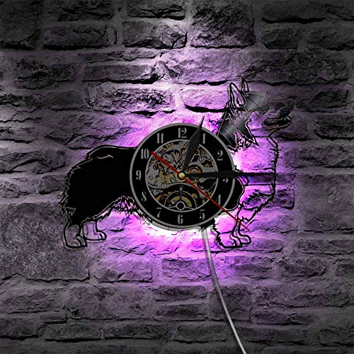 wtnhz LED Reloj de Pared de Vinilo Colorido Lindo Perro CD Reloj de Pared Diseño Moderno Reloj con iluminación LED Decoración clásica en 3D Estilo Retro Reloj de Pared con Registro de Vinilo Decor