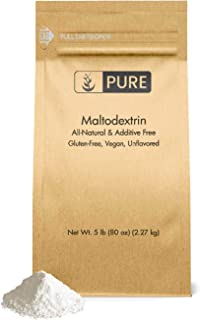 Maltodextrin (5 lbs) by Pure Ingredients, Water Soluble, Energy Boosting Complex Carbohydrates for Pre/Post Workout Shakes...