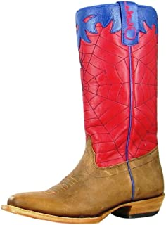 Olathe Boot Company Boys Kid s Red Blue Spider Web Cowboy Boots