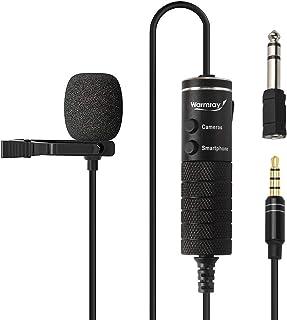 میکروفون لاپل ، Warmray ، میکروفون یقه ای ، میکروفون پخش زنده ، میکروفون تلفنی برای ضبط آندروید / آیفون / آیپد ، میکروفون دوربین فیلمبرداری برای GoPro / DSLR / Vlog ، میکروفون لپ تاپ ، جک 3.5 میلی متری جک 245 اینچی