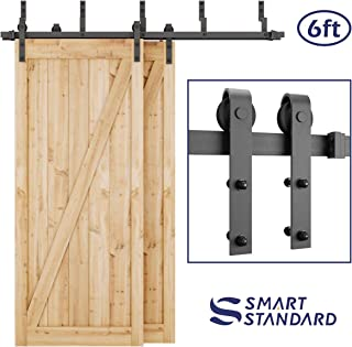 SMARTSTANDARD 6ft Heavy Duty Bypass Double Door Sliding Barn Door Hardware Kit - Smoothly & Quietly -Easy to Install - Includes Step-by-Step Installation Instruction Fit 36