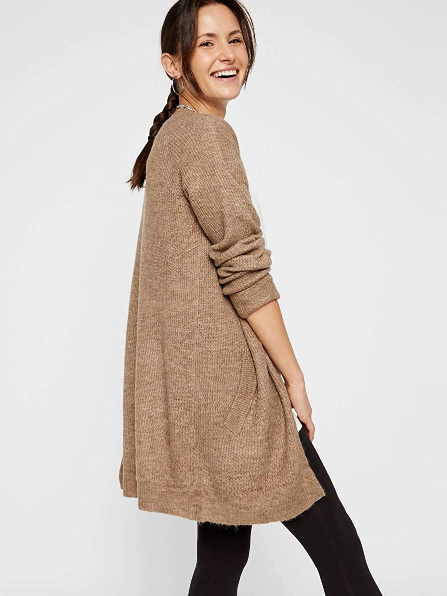 PIECES Damen Strickjacke Longline Tannin
