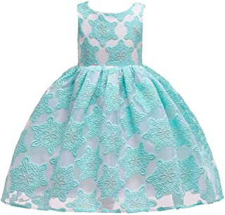 Cocaker Girls Dresses Kids Sleevess lace Bridesmaid Pageant Formal Dress for Girls