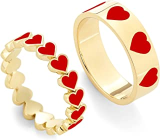 ANDPAI 2 PCS Unique Colorful Heart Ring Gold Band Rings Set for Women Girl Couple Cute Love Heart Plain Stackable Finger R...