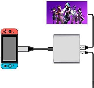 Nintendo Switch Type-C to HDMI変換アダプタ 3in1 ニンテンドー スイッチドック 代わり品 熱対策 映像変換 4K解像度 スイッチ ドックセット HDMI変換アダプタ Macbook Chromebook And...