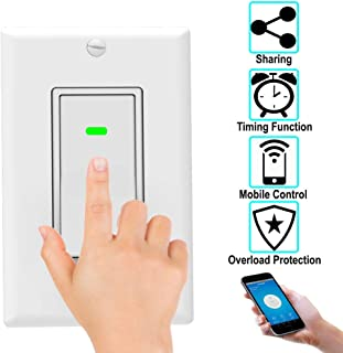 Smart-Home Wifi Remote Control Wall Light-Switch Works with Google Assitant and Alexa (1 Pack)