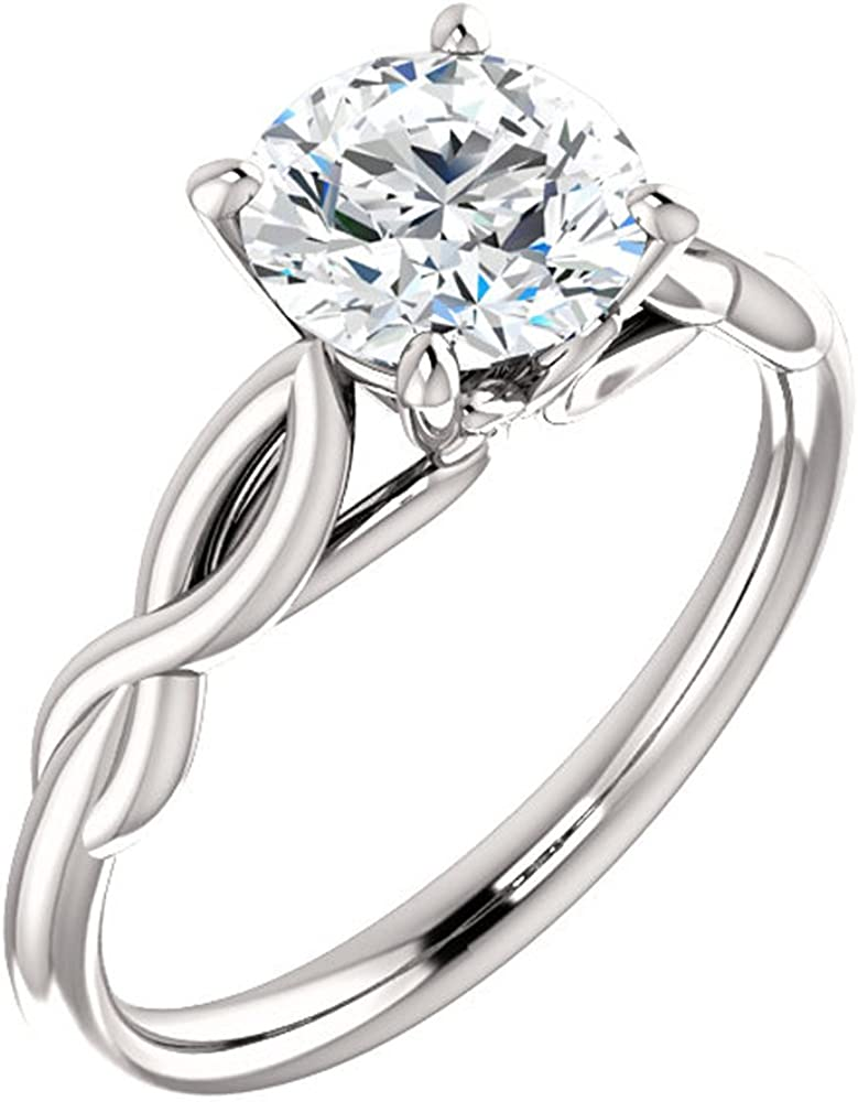Forever One Diamond 1.00 CT Round Cut Diamond Vintage Solitaire Engagement Ring