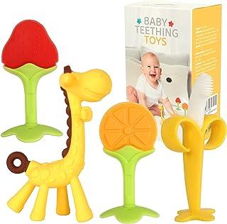 Baby Teething Toys for Newborn (4-Pack) Freezer Safe BPA Free Infant and Toddler Silicone Banana Toothbrushes Fruit Giraff...