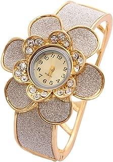 Shining Diva Fashion Luxury 18k Gold Plated Quartz Watch Bracelet for Girls and Women(Golden)(8312bw)