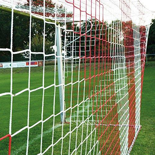 DONET Fußballtornetz 7,5 x 2,5 m Tiefe Oben 0,80 / unten 2,00 m, zweifarbig, PP 4 mm ø, rot/weiß