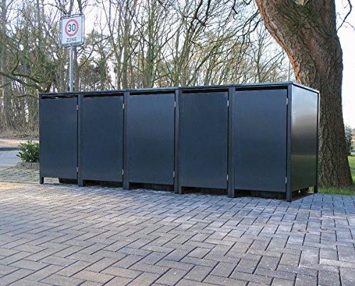 5 Mülltonnenboxen ohne Stanzung für 240 Liter Mülltonnen / komplett Anthrazit RAL 7016 / witterungsbeständig durch Pulverbeschichtung / mit Klappdeckel und Fronttür