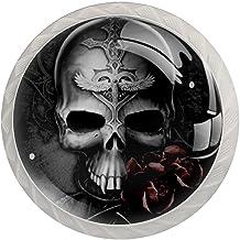 Black Rose Skull, 4-Pack van ABS hars keukenkast knoppen trekt ronde afdrukken dressoir knoppen lade handgrepen kast deurk...