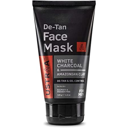 Ustraa De-Tan Face Mask - Oily Skin - 125 g - Tan & Pollution removing wash-off face mask for men, with highest grade White Charcoal, Cleansing for oily skin - Made in India