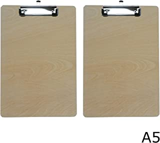 Enyuwlcm Wooden Clipboard Durable MDF Small Clipboard A5 Size 6'' x 9'' Low Profile Clip 2 Packs