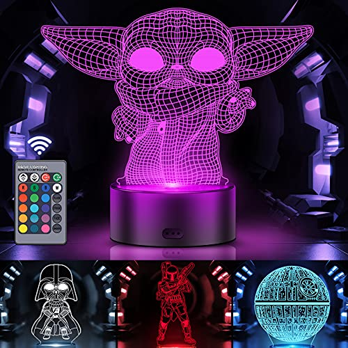 3D Illusion Star Wars Night Light for Kids, Orenic 4 Pattern and 16 Color Change Decor Lamp with Smart Touch & Remote Control for Bedroom Home Decoration, Star Wars Gifts for Boys Girls Star Wars Fans