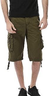 ♥ HebeTop ♥ Men's Survivor Belted Cargo Short-Reg Shorts Below Knee Loose Fit Capri Long Shorts