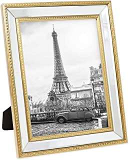 Isaac Jacobs 8x10 Gold Mirror Bead Picture Frame - Classic Mirrored Frame with Dotted Border Made for Wall Display, Tabletop, Photo Gallery and Wall Art (8x10, Gold)