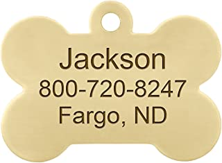 Personalized Laser Engraved Brass Bone Dog ID Tag with S-Hook and Split Ring