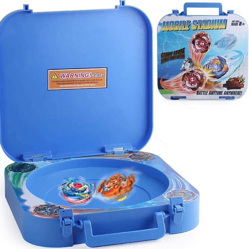 HOME4 2in1 Battle Stadium and Holder Storage Organizer Carrying Box - Empty Case, Toys Not Included, Compatible with Beyblade