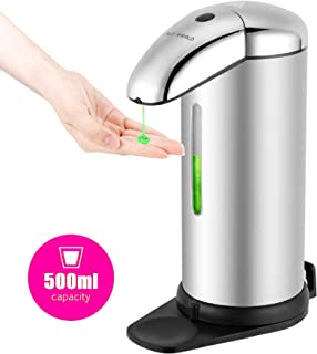 SLD-WORLD 500ml/17oz Automatic Soap Dispenser - Touchless & Refillable Pump with Infrared Motion Sensor – Adjustable Liquid Flow, Waterproof Stainless Steel Soap Holder - Desk or Wall Mounted