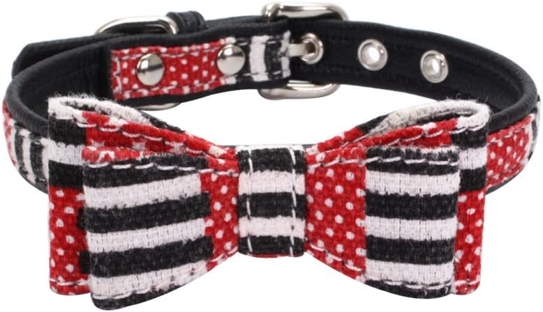 Mcdobexy Same day shipping Dog Collar with Bowtie Soft Miami Mall and Cute Grip Comfortable S