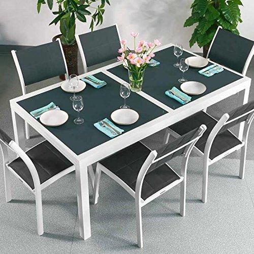 Lazy Susan Table Florence et 6 chaises Georgia - Blanc & Gris | Table Extensible 240cm pour l'intérieur et l'extérieur