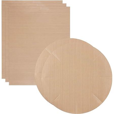 Funmo Lot de 5 Papiers de Cuisson ,Antiadhésif Réutilisables Feuilles de Cuisson,pour Gril, Cuisson, Barbecue(3 x carrés 40 * 60cm+2 x Rondes diam 40 cm)