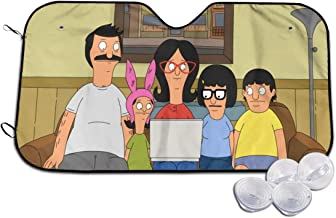 Car Windshield Sun Shades, Bobs Burgers Happy Family Watch Linda Belcher Computer UV Rays Protector, Cute Window Windproof Cover, UV Protect, Keep Vehicle Cool & Damage Free
