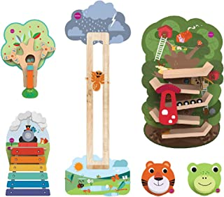 ORIBEL VertiPlay Wall Toys Play Wall Combo Set (Tree Top Adventure, Slidey Spidey, Woodpecker, Xylophone, Door Knocker)