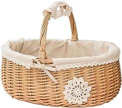 SCDZS Kosz wiklinowy z rattanu pudełko kosz do przechowywania kosz piknikowy owoce kosze na kwiaty z pokrywką organizer na...