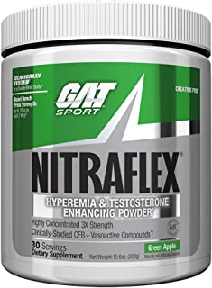 GAT - NITRAFLEX - Testosterone Boosting Powder, Increases Blood Flow, Boosts Strength and Energy, Improves Exercise Performance, Creatine-Free (Green Apple, 30 Servings)