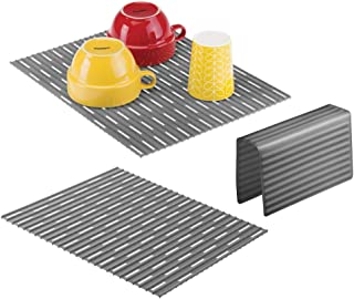 mDesign Large Kitchen Sink Protector Mat Pad Set, Quick Draining - Use In Sinks to Protect Surfaces and Dishes Combo - Ribbed Design - Includes 1 Sink Saddle, 2 Sink Mats - Set of 3 - Charcoal Gray