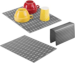 mDesign Silicone Kitchen Large Sink Protector Mat Pad Set, Quick Draining - Use In Sinks to Protect Surfaces and Dishes - Ribbed Pattern - Includes 1 Sink Saddle, 2 Sink Mats - Set of 3, Charcoal Gray